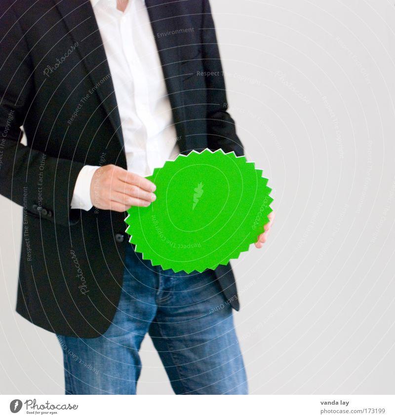 Grün Mensch Mann Erwachsene Arbeit & Erwerbstätigkeit Lifestyle Schilder & Markierungen Erfolg Studium Zeichen Bildung Jeanshose Information Werbung
