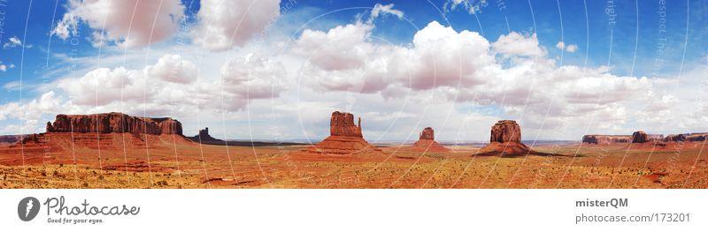 Cowboy's Playground. Natur rot Ferien & Urlaub & Reisen Wolken Einsamkeit Freiheit Stein Erde Erfolg groß Felsen Zukunft USA Tourismus Mensch Frieden