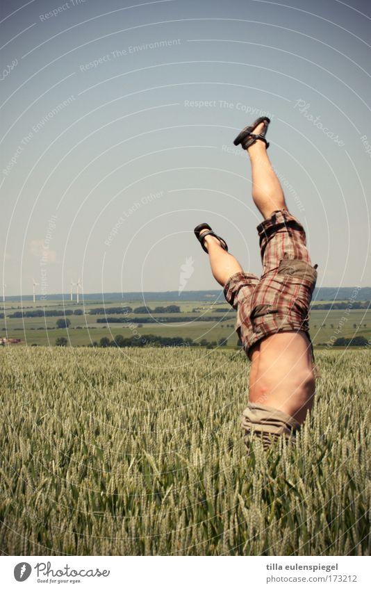 zwergenweitwurf Mensch Mann träumen lustig Erwachsene maskulin fallen einzigartig Sport sportlich Absturz kopflos Spaßvogel Handstand Kopfschmerzen spaßig