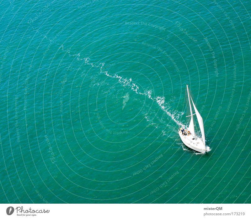 Weit Weg. Wasser Jacht Meer Ferien & Urlaub & Reisen Einsamkeit Ferne Erholung Freiheit Wasserfahrzeug planen Suche Erfolg frei Horizont Ausflug Hoffnung