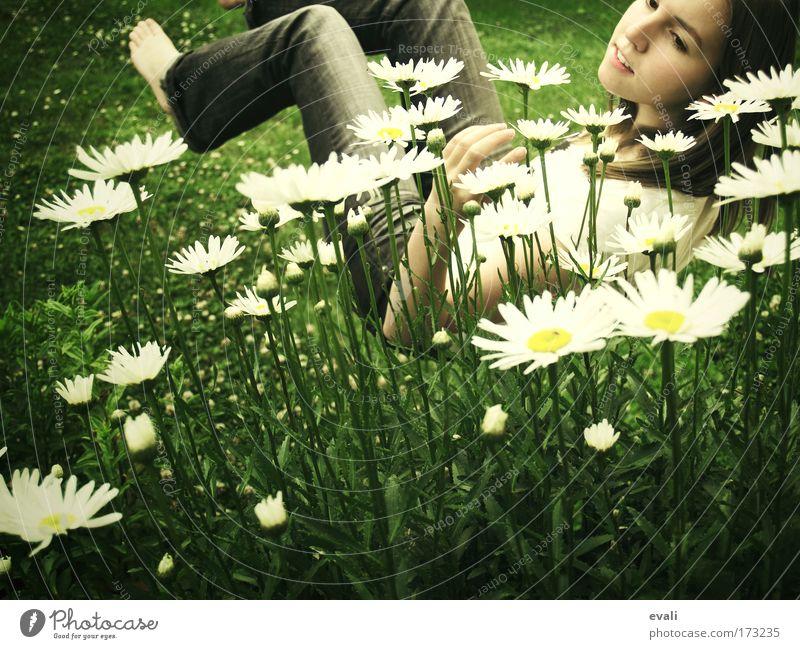 Light as a feather Farbfoto Außenaufnahme Textfreiraum unten Tag feminin Junge Frau Jugendliche Gesicht 1 Mensch Frühling Sommer Blume Gras Margerite Garten