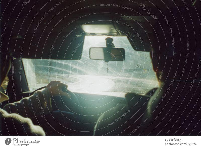 glatte Straße Verkehr Kurve Autofahren Glätte Windschutzscheibe