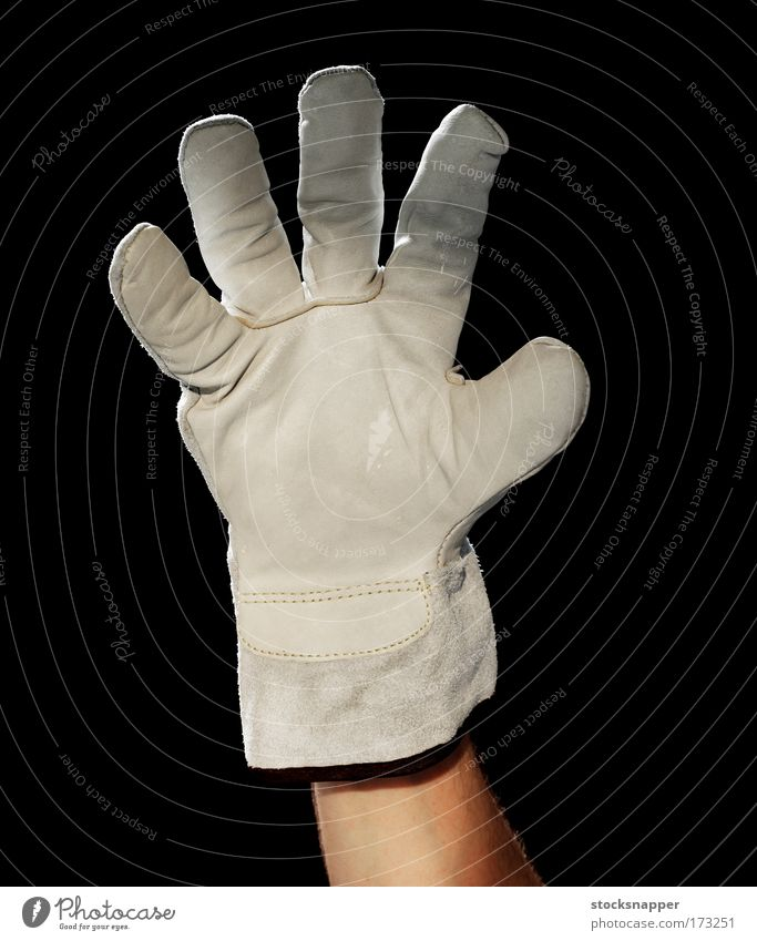 Hand Finger skurril bizarr seltsam Handschuhe Schutz gestikulieren Arbeitsbekleidung schützend abwehrend