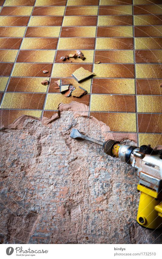 Urlaub zu Ende Wohnung Renovieren Arbeit & Erwerbstätigkeit Arbeitsplatz Baustelle Handwerk Werkzeug Maschine Bohrmaschine Bodenbelag Beton authentisch kaputt