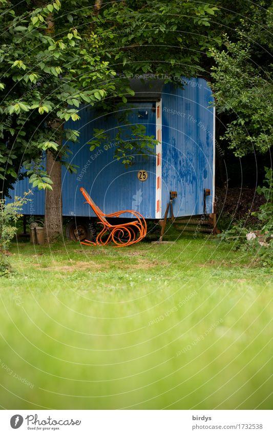 home sweet home Sommer Häusliches Leben Traumhaus Schaukelstuhl Natur Schönes Wetter Baum Wiese Hütte Wohnwagen Bauwagen frei einzigartig lustig positiv retro