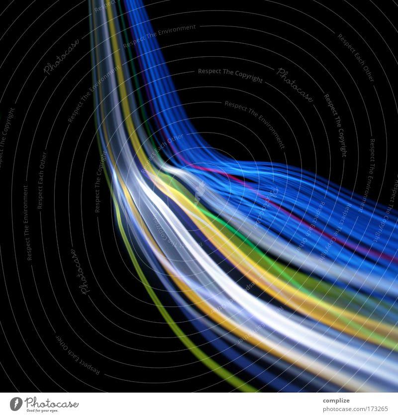 Lichtstrom Telefon Musik Wasser mehrfarbig Wellen Muster verrückt Energiewirtschaft Elektrizität abstrakt Kabel Internet Technik & Technologie Telekommunikation Spuren Medien
