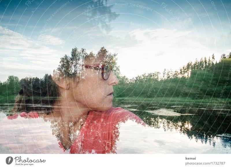 Sommergedanken Frau Mensch Himmel Natur Ferien & Urlaub & Reisen Landschaft Baum Erholung Wolken Gesicht Erwachsene Umwelt Lifestyle Traurigkeit feminin