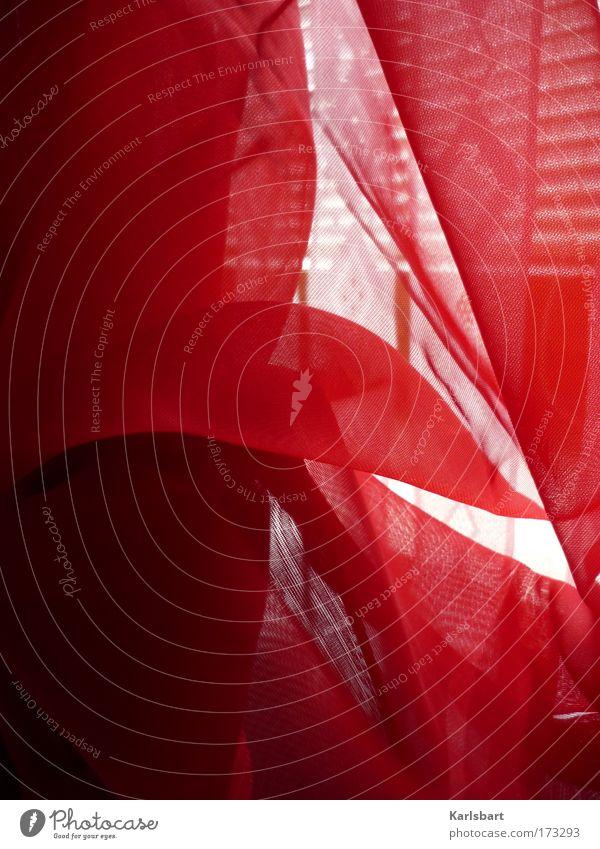 sommer. brise. rot Sommer ruhig Erholung Fenster Bewegung Wärme Linie Wind Wohnung Design frisch Häusliches Leben Stoff Schnur Schönes Wetter