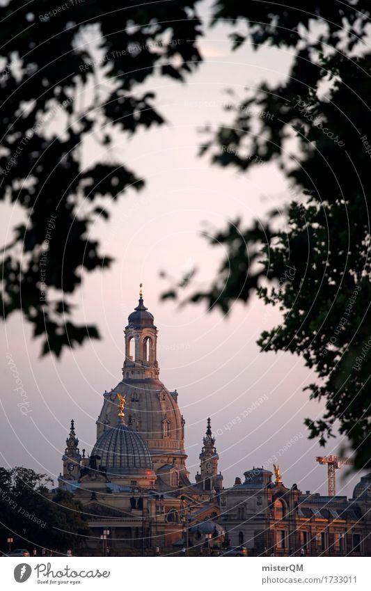 Verträumtes Dresden. Kunst ästhetisch Frauenkirche Kirche Silhouette Sachsen Pegida Altstadt Hauptstadt Religion & Glaube Kirchturm Sehenswürdigkeit Farbfoto