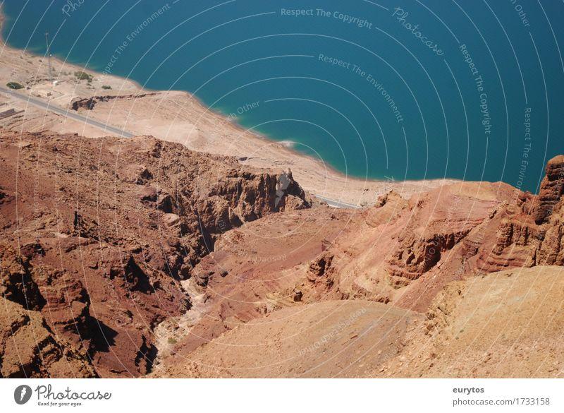 Totes Meer Umwelt Natur Landschaft Erde Sand Wasser Sommer Klima Klimawandel Wetter Schönes Wetter Dürre Felsen Bucht Wüste blau braun Jordanien Farbfoto