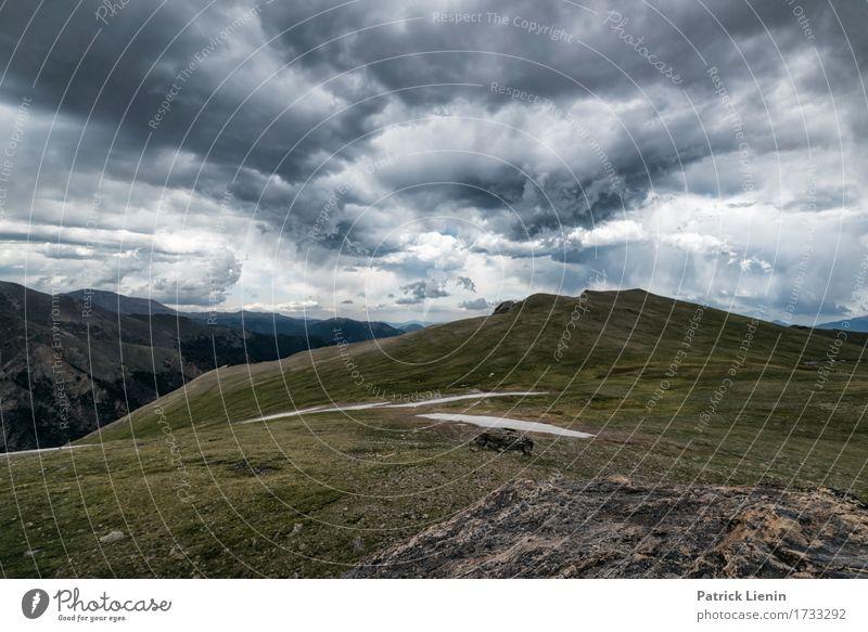 Tundra-Landschaft schön Ferien & Urlaub & Reisen Tourismus Abenteuer Sommer Schnee Berge u. Gebirge Umwelt Natur Urelemente Erde Himmel Wolken Gewitterwolken