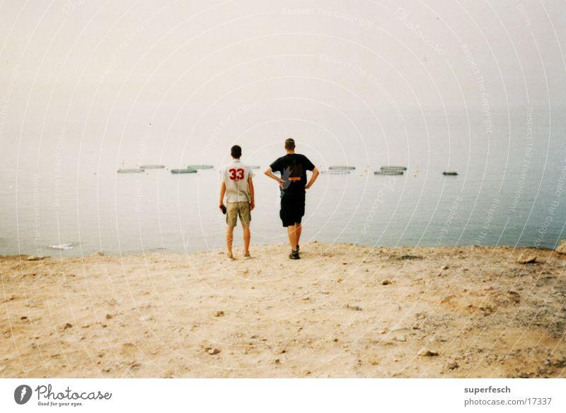 stehend chillen Meer Sand Küste Europa beobachten Fischereiwirtschaft Gran Canaria