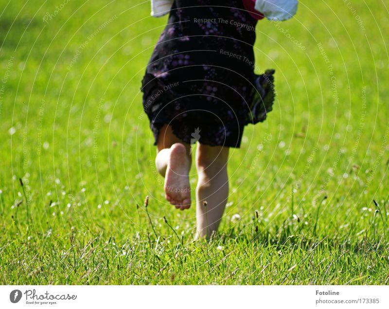 Lauf Laura! Mensch Kind Natur Jugendliche weiß grün Pflanze Mädchen schwarz Umwelt Wiese Landschaft Gras Wärme Beine hell