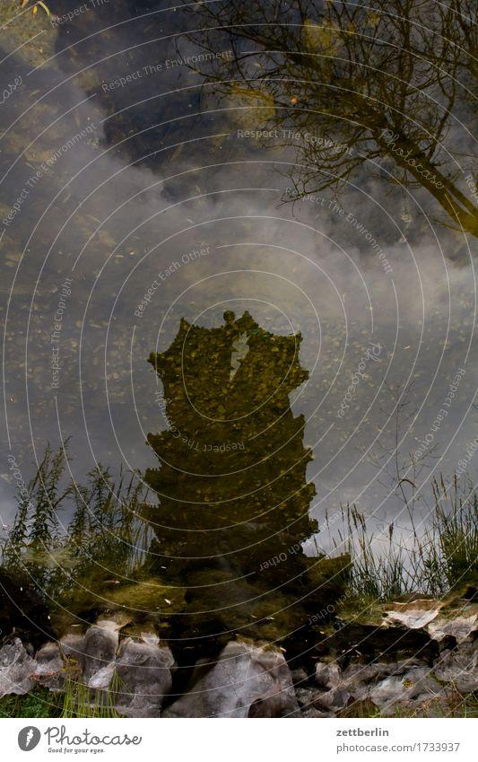 Tempel Wasser Teich See Küste Seeufer Flussufer Reflexion & Spiegelung Spiegelbild Wasseroberfläche Himmel Wolken Textfreiraum Menschenleer Sommer