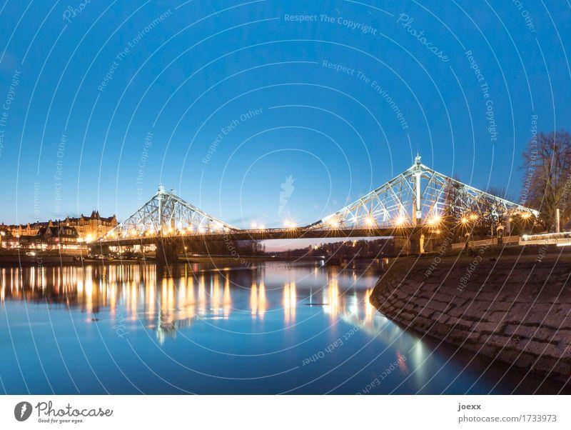 Verbindung alt blau schön Wege & Pfade Stil orange Idylle groß Brücke Vergangenheit Dresden Blaues Wunder