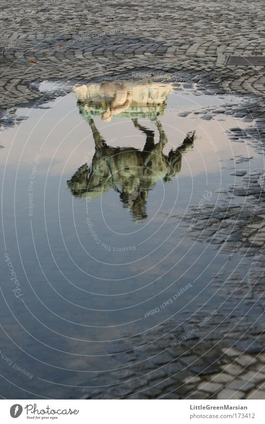 Der Reiter [I] alt Wasser Kraft ästhetisch Burg oder Schloss Vergangenheit Denkmal Mut Sehenswürdigkeit Pfütze Hauptstadt Stolz Lichtspiel Pflastersteine
