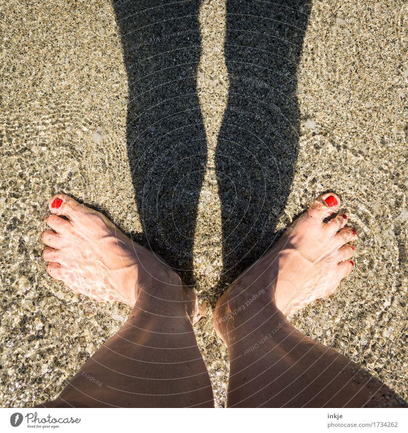 Abkühlung Lifestyle schön Nagellack Freizeit & Hobby Ferien & Urlaub & Reisen Sommer Sommerurlaub Sonne Strand Meer Sandstrand Frau Erwachsene Leben Beine Fuß