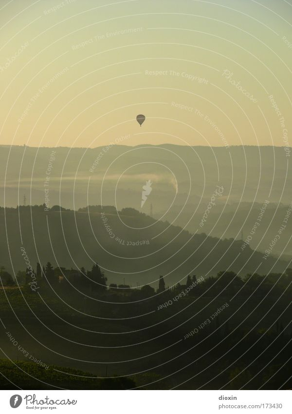 mattina in Toscana (3) Farbfoto Gedeckte Farben Außenaufnahme Menschenleer Textfreiraum oben Morgen Morgendämmerung Schatten Kontrast Silhouette
