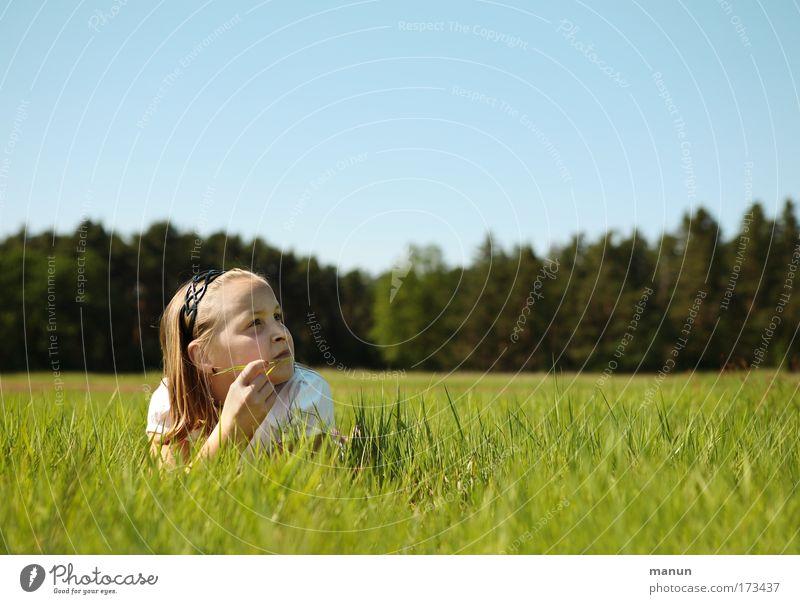 in Gedanken Mensch Kind Natur Jugendliche Mädchen Sommer ruhig Wald Erholung Umwelt Wiese Frühling Denken träumen Kindheit Zufriedenheit