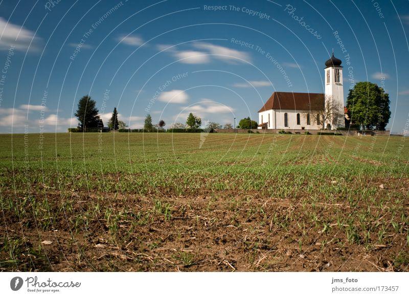Wallfahrtskirche Höchstberg grün blau Wolken Landschaft braun Religion & Glaube Feld Zeit Kirche Friedhof Kloster
