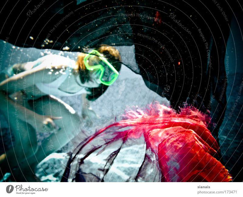 behind the scene Mensch Ferien & Urlaub & Reisen Mädchen feminin Spielen Kind Schwimmen & Baden verrückt Unterwasseraufnahme Schwimmbad Neugier Maske tauchen fantastisch entdecken Bikini