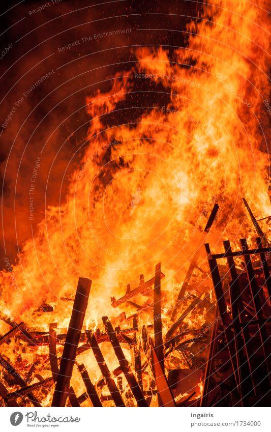 Heiß Feuer Holz leuchten Aggression gelb orange schwarz gefährlich bedrohlich Stimmung Versicherung brennen Flamme Desaster Brand glühen Zerstörung heiß
