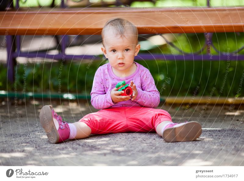 Kleines Baby spielt mit Spielzeug sitzt auf dem Boden im Park und schaut in die Kamera Freude Spielen Sommer Kind Mädchen Kindheit 1 Mensch 1-3 Jahre Kleinkind