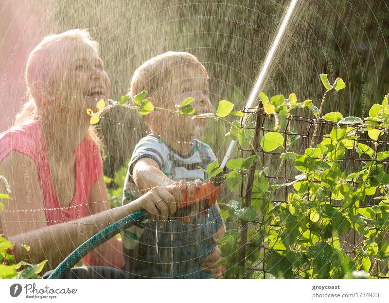 Mutter und ihr junger Sohn, die mit Wasser spielen Mensch Kind Natur Jugendliche Pflanze Sommer Junge Frau Hand Freude 18-30 Jahre Erwachsene Gras