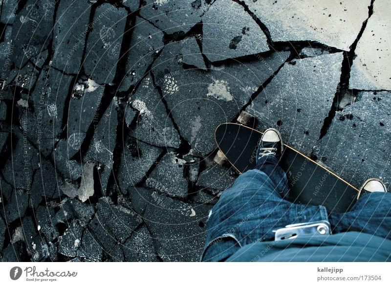 so viel kaputt... Mensch Mann Jugendliche Erwachsene Straße Wege & Pfade Stil Beine Tierjunges Fuß Freizeit & Hobby Verkehr Lifestyle 18-30 Jahre trist