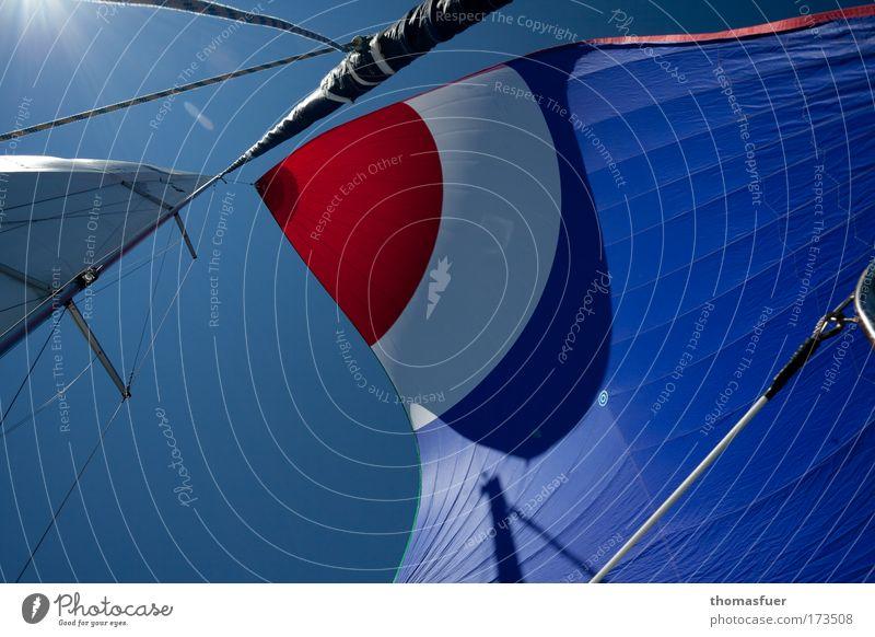 Segeln unter der Sonne Meer blau rot Sommer Wasserfahrzeug Ferne Sport Freiheit träumen Zufriedenheit Abenteuer Freizeit & Hobby Lebensfreude Segeln genießen