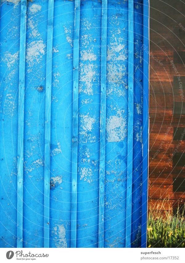 ziemlich blau Wand Holz Plakatwand abblättern verschlissen Dinge alt