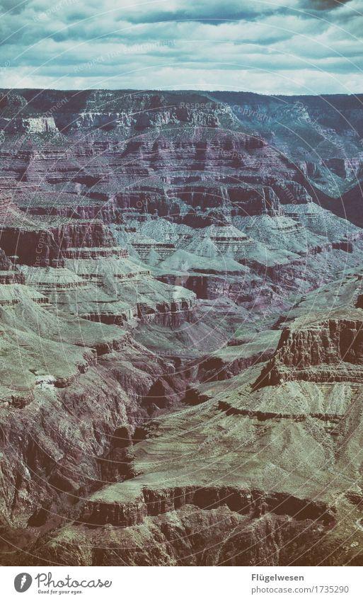 Beautiful Amerika (u) Himmel Wolken Tag Schatten Berge u. Gebirge Grand Canyon USA Landschaft Pflanze Tier Aussicht Ferne Menschenleer Sträucher Vulkankrater