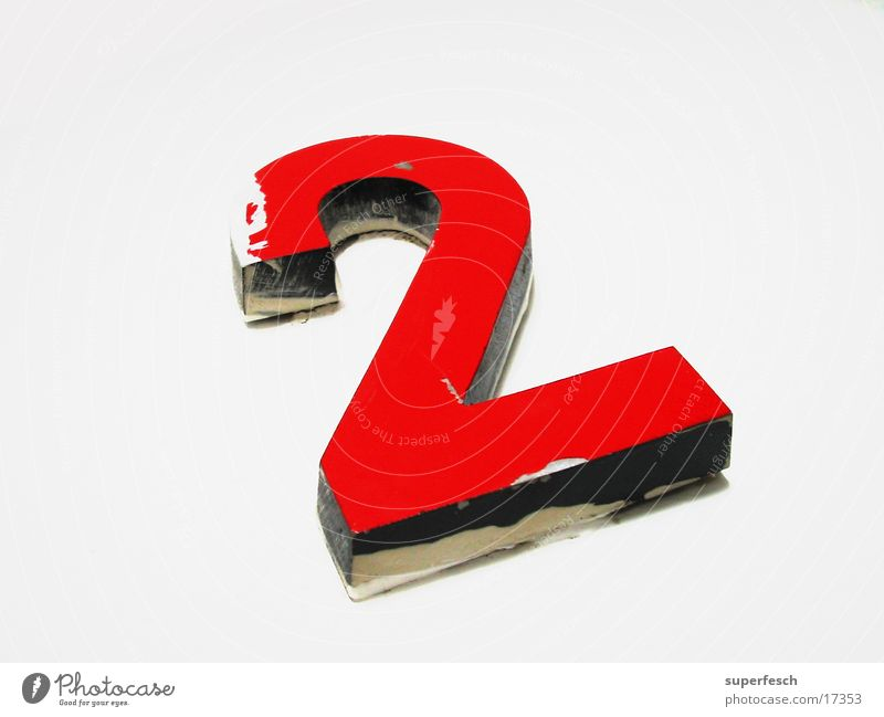 zwo 2 Ziffern & Zahlen Etage rot Dinge Doppelbelichtung Farbe