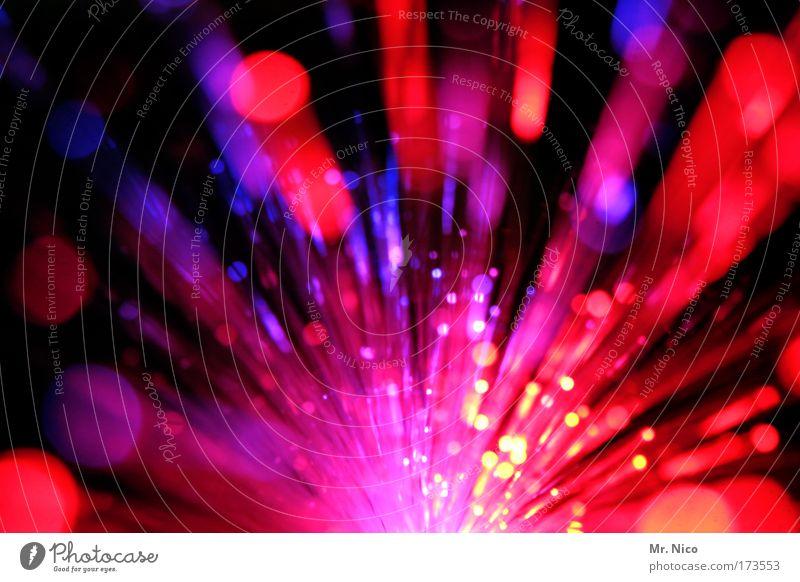 ruut Kunstwerk Discokugel blau rot Farbe Licht Lichtspiel mehrfarbig Neonlicht Lichtbahn lichtzauber Dynamik Bewegung Explosion Feuerwerk Reaktionen u. Effekte