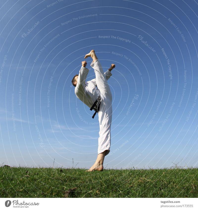 JETZT ÜBERTREIBT ER ABER... Kick Fußtritt Taekwondo Karate Kämpfer fighter Kampfsport Kampfsportler Farbfoto Textfreiraum oben Sebastian Klug schwarz Gürtel