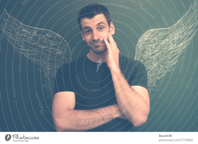 Mann mit Flügeln Engel unschuldig auffordernd Aufforderung engelsgleich harmlos sanft anständig treu