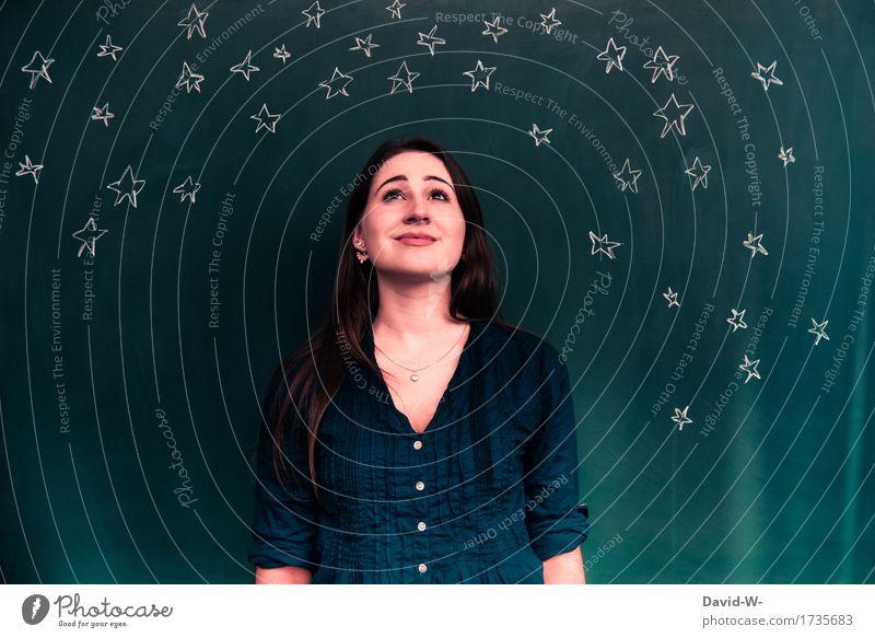 Sternenhimmel Mensch feminin Junge Frau Jugendliche Erwachsene Kindheit Leben 1 Kunst Kunstwerk Landschaft Nachthimmel Horizont Mond Nordlicht leuchten schön