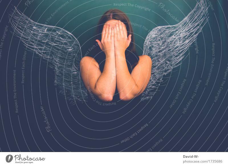 Unschuldslamm Mensch Frau Jugendliche schön Junge Frau Hand ruhig dunkel Gesicht Erwachsene Leben Traurigkeit Religion & Glaube Kunst Erde Angst