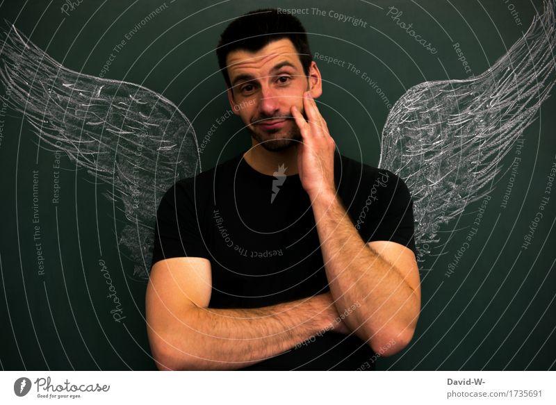 Engel oder Bengel Lifestyle elegant Stil Freude schön Leben Zufriedenheit Mensch maskulin Junger Mann Jugendliche Erwachsene 1 Kunst Künstler Lächeln Erotik