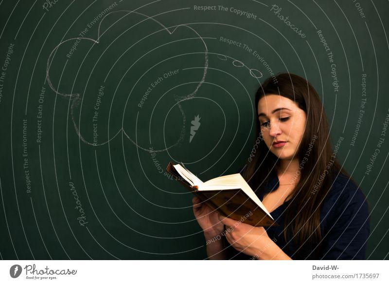 lesen Bildung Erwachsenenbildung Schule lernen Tafel Schüler Studium Student Prüfung & Examen feminin Junge Frau Jugendliche Leben Kopf Kunst Denken Idee