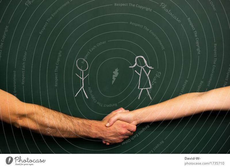 M - W Lifestyle Leben Zufriedenheit lernen Tafel Business Karriere Team Mensch maskulin feminin Junge Frau Jugendliche Junger Mann Erwachsene 2 sprechen gleich