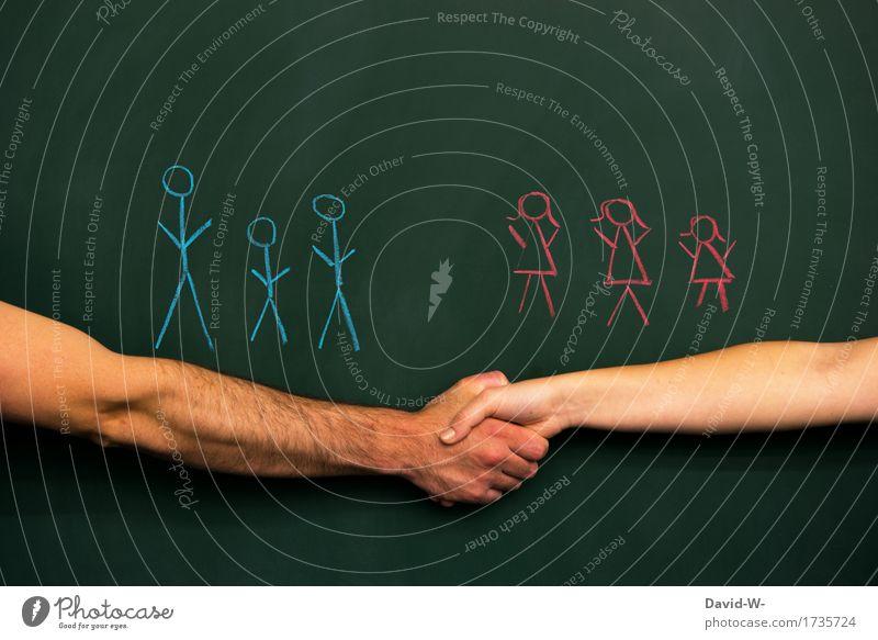 Geschlechterkampf - Versöhnung Lifestyle harmonisch Zufriedenheit Tafel Beruf Arbeitsplatz Business Karriere Mensch maskulin feminin Frau Erwachsene Mann Paar