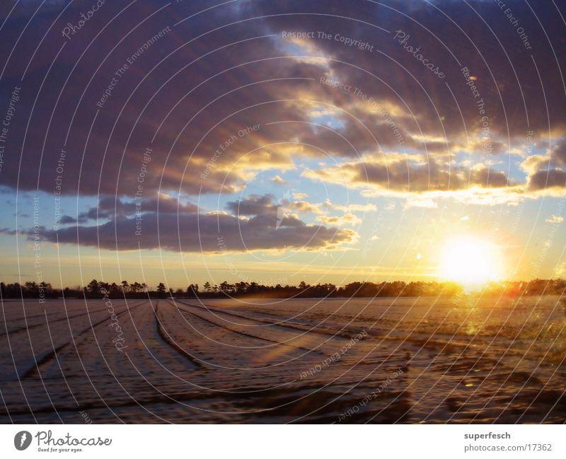 Guten Morgen Sonnenaufgang Wolken Dämmerung Winter Feld Himmel Niveau
