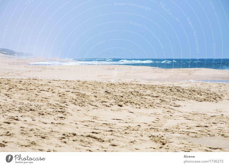 weiter Horizont Ferien & Urlaub & Reisen Ferne Freiheit Sommerurlaub Strand Meer Landschaft Wasser Himmel Schönes Wetter Küste Sand Fußspur frei Unendlichkeit