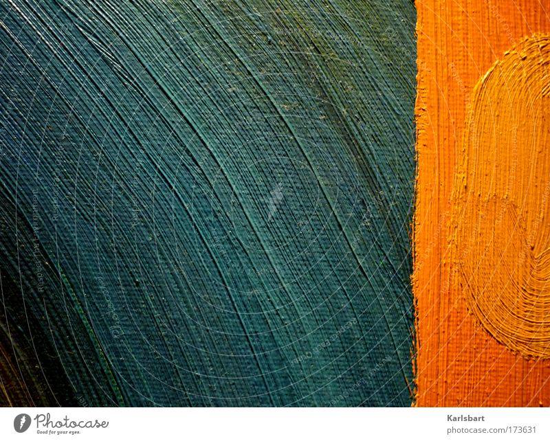 öl. auf leinwand. Sommer Farbe Linie orange Wellen Kunst glänzend Design nass verrückt Kreis modern ästhetisch Freizeit & Hobby einzigartig Medien