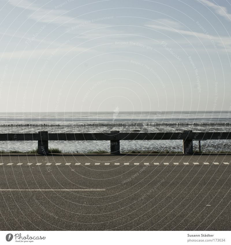 Straße, Leitplanke und viel Meer Gedeckte Farben Außenaufnahme Menschenleer Textfreiraum oben Textfreiraum unten Tag Abend Kontrast Zentralperspektive