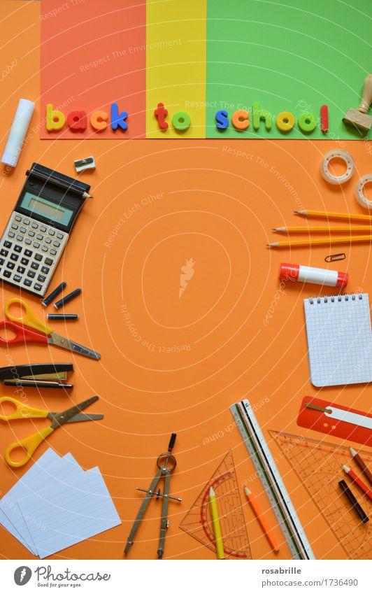 Schulanfang Bildung Schule lernen Hausaufgabe Arbeitsplatz Schreibwaren Papier Zettel Schreibstift Stempel Schriftzeichen Text Wort Zirkel Farbstift Klebstoff