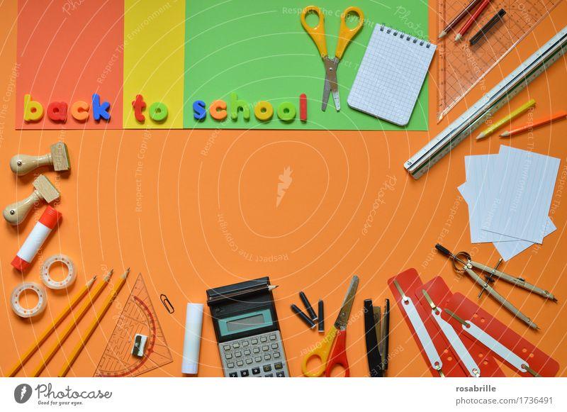 Schulanfang - bunte Schulutensilien auf orangem Hintergrund mit den Worten BACK TO SCHOOL Bildung Schule lernen Hausaufgabe Arbeitsplatz Schreibwaren Papier