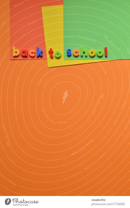 Schule faengt wieder an Freude orange Arbeit & Erwerbstätigkeit Schriftzeichen Kindheit Fröhlichkeit lernen Papier Zeichen lesen Buchstaben Bildung schreiben
