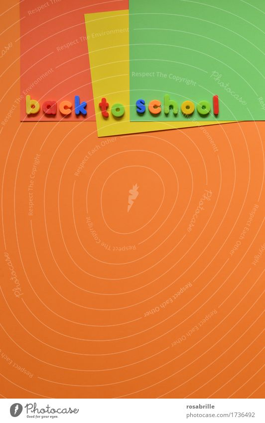 Schule faengt wieder an Freude Schule orange Arbeit & Erwerbstätigkeit Schriftzeichen Kindheit Fröhlichkeit lernen Papier Zeichen lesen Buchstaben Bildung schreiben Spielzeug Schüler